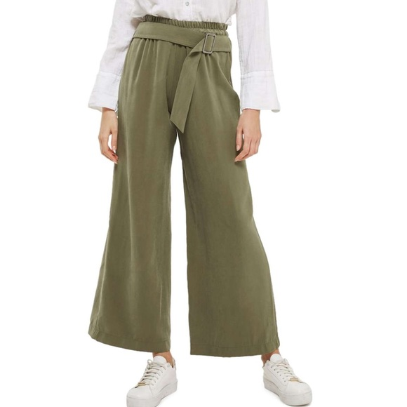 lowest discount classic on feet images of Topshop Green Belted Wide Leg Trousers Pants